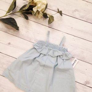 Baby Chambray Ruffle Summer Dress - Size 3-6 M